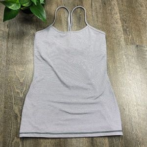lululemon Pink Mauve Grey Stripe Power Y Tank 6